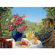 """Ткань с рисунком для вышивки бисером Глурия (Астрея) """"Завтрак на балконе"""""""