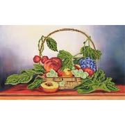 """Ткань с рисунком для вышивки бисером Глурия (Астрея) """"Корзина с фруктами"""""""