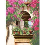 """Ткань с рисунком для вышивки бисером Глурия (Астрея) """"Цветочный балкон"""""""