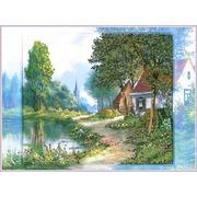 """Ткань с рисунком для вышивки бисером Глурия (Астрея) """"Вид на деревню"""""""