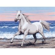 """Канва с нанесенным рисунком Diamant """"Белая лошадь на морском берегу"""""""