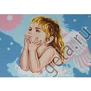 """Канва/ткань с нанесенным рисунком Gobelin-L """"Мечтающий ангелочек"""""""