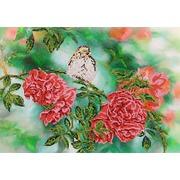 """Ткань с рисунком для вышивки бисером Глурия (Астрея) """"На ветке розы"""""""