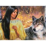 """Ткань с рисунком для вышивки бисером Глурия (Астрея) """"Разговор с волком"""""""