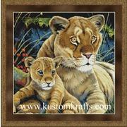 """Набор для вышивания крестом Kustom Krafts Inc. """"Львица с детенышем"""""""