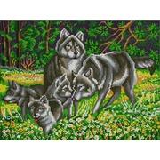 """Ткань с рисунком для вышивки бисером Конёк """"Волчья семья"""""""