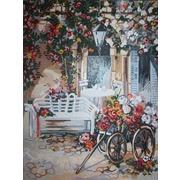 """Канва/ткань с нанесенным рисунком Gobelin-L """"Повозка цветочницы"""""""