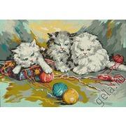 "Канва с нанесенным рисунком Gobelin-L ""Три котенка"""