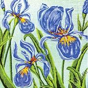 """Канва с нанесенным рисунком Gobelin-L """"Ирисы на голубом"""""""