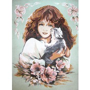 """Канва/ткань с нанесенным рисунком Diamant """"Девушка с кошкой"""""""
