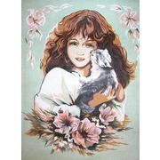 """Канва с нанесенным рисунком Diamant """"Девушка с кошкой"""""""