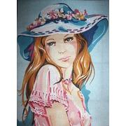 """Канва с нанесенным рисунком Diamant """"Девушка в голубой шляпке"""""""