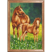 """Ткань с рисунком для вышивки бисером Магия канвы """"Лошадь с жеребенком"""""""