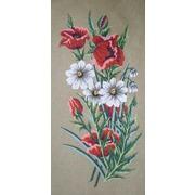 "Канва/ткань с нанесенным рисунком Gobelin-L ""Маки и ромашки"""