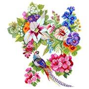 """Канва/ткань с нанесенным рисунком Матрёнин посад """"Этюд с птицей"""""""