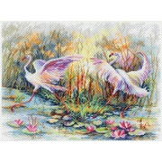 "Канва с нанесенным рисунком Матрёнин посад ""Танец фламинго"""