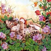 """Канва/ткань с нанесенным рисунком Абрис Арт """"Забавы в цветах"""""""