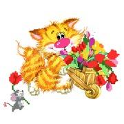 """Набор для вышивания бисером Матрёнин посад """"Без кота - жизнь не та! Цветы для друзей"""""""