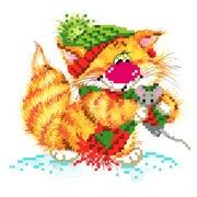 """Набор для вышивания бисером Матрёнин посад """"Без кота - жизнь не та! Вместе теплее"""""""