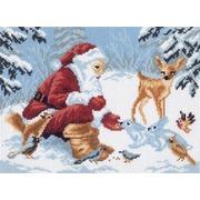 """Канва с нанесенным рисунком Матрёнин посад """"Дед Мороз в лесу"""""""