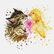 """Набор для вышивания крестом Luca-S """"Кот с утенком"""""""