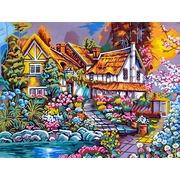 """Канва с нанесенным рисунком Gobelin-L """"Домик в цветах"""""""