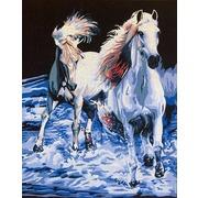 "Канва с нанесенным рисунком Gobelin-L ""Пара белых лошадей"""