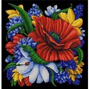 """Ткань с рисунком для вышивки бисером Конёк """"Цветы"""""""