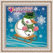"""Набор для выкладывания мозаики Алмазная живопись """"Снеговик на санках"""""""