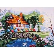 """Канва/ткань с нанесенным рисунком Grafitec """"Пруд в саду"""""""