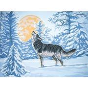 """Канва/ткань с нанесенным рисунком Grafitec """"Волк при свете луны"""""""