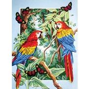"""Канва/ткань с нанесенным рисунком Grafitec """"Тропические попугаи"""""""