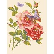 """Канва с нанесенным рисунком Grafitec """"Розовые розы и бабочка"""""""