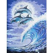 """Канва/ткань с нанесенным рисунком Grafitec """"Дельфины в лунном свете"""""""
