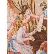 """Канва/ткань с нанесенным рисунком Grafitec """"Девушки за пианино"""""""