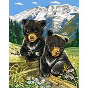 """Канва/ткань с нанесенным рисунком Grafitec """"Весенние медвежата"""""""