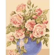 """Канва с нанесенным рисунком Grafitec """"Розы в голубой вазе"""""""