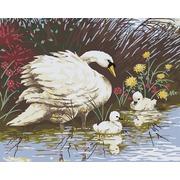 """Канва/ткань с нанесенным рисунком Grafitec """"Лебедь с птенцами"""""""