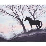 """Канва/ткань с нанесенным рисунком Grafitec """"Силуэт коня"""""""