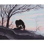 """Канва/ткань с нанесенным рисунком Grafitec """"Силуэт лошади и жеребенка"""""""