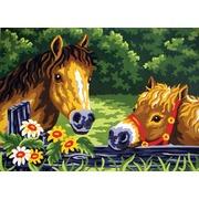"""Канва/ткань с нанесенным рисунком Grafitec """"Любопытные пони"""""""