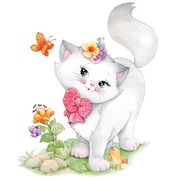 """Канва/ткань с нанесенным рисунком Grafitec """"Милый котенок"""""""