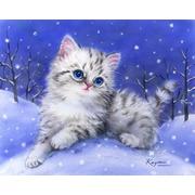 """Канва/ткань с нанесенным рисунком Grafitec """"Котята в снегу"""""""