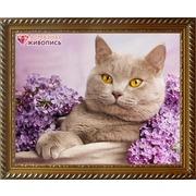 """Набор для выкладывания мозаики Алмазная живопись """"Кот в сирени"""""""