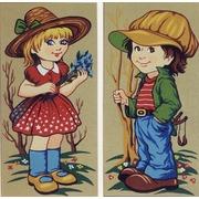 """Канва/ткань с нанесенным рисунком Diamant """"Девочка с голубыми цветами и мальчик"""""""
