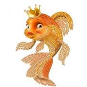 """Ткань с рисунком для вышивки бисером Конёк """"Золотая рыбка"""""""