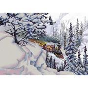 """Ткань с рисунком для вышивки бисером Конёк """"Поезд"""""""