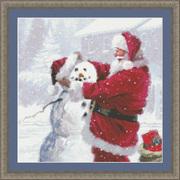 """Набор для вышивания крестом Kustom Krafts Inc. """"Санта и снеговик"""""""