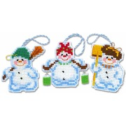 """Набор для вышивания крестом Риолис Новогодние игрушки """"Снеговички"""""""