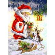 """Канва с нанесенным рисунком Матрёнин посад """"Юный Санта"""""""